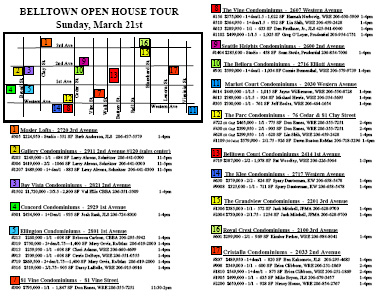 Belltown condo open house map