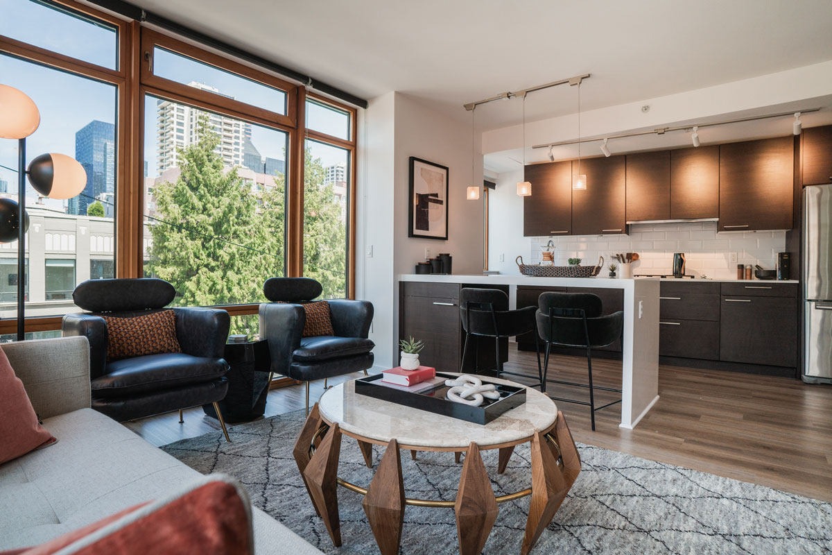 The Goodwin Condo Seattle Open Living Area