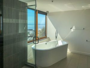 The Goodwin Condo Seattle soaking tub view