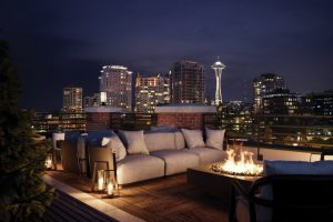 The Goodwin Condo Seattle rooftop night